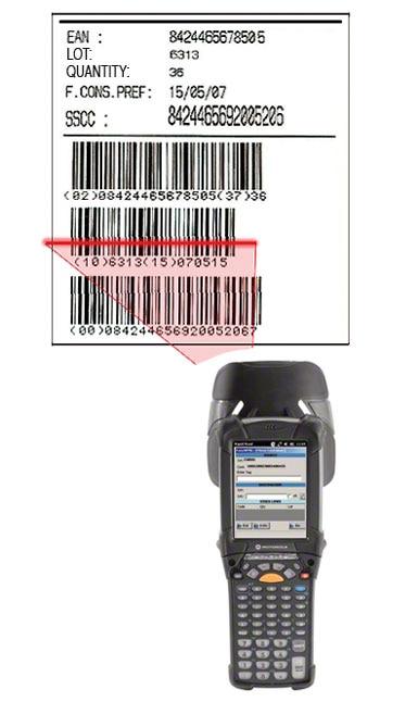 Przykład etykiety z kodem kreskowym EAN-128, za pomocą której dokonuje się identyfikacji palety, umieszczonego na niej produktu oraz jego cech.