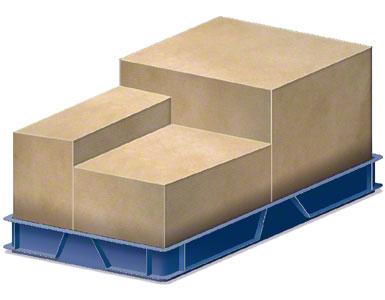 Kontener zawierający skrzynie opakowaniowe wysyłane przez dostawcę.