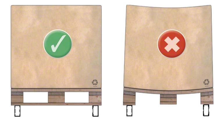 Sposób, w jaki paletę drewnianą typu 1 należy składować na belkach regałów