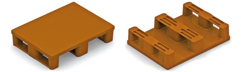 Jest to półpaleta plastikowa. Należy zachować te same środki ostrożności jak w przypadku półpalet drewnianych i zwrócić uwagę na wytrzymałość dolnych stopek.