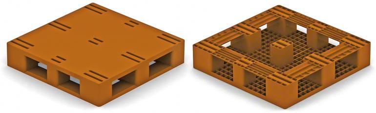 Ten model palety plastikowej jest bardzo podobny do typu 2 palety drewnianej, przy czym stopki są umieszczone na brzegach. Należy uwzględnić ograniczenia dotyczące typu 2 palety drewnianej.