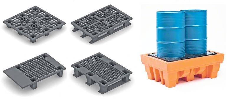Przykłady różnych modeli palet plastikowych.