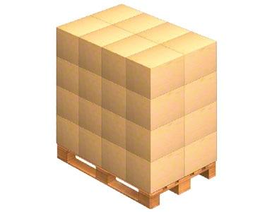 Inną metodą prawidłowego przygotowania palety do transportu jest ułożenie pojemników w stos