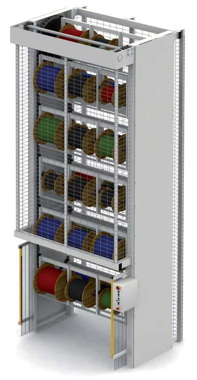Pionowe magazyny karuzelowe można dostosować do składowania bardzo różnych produktów. Na zamieszczonej ilustracji widać pionowy magazyn karuzelowy na szpule