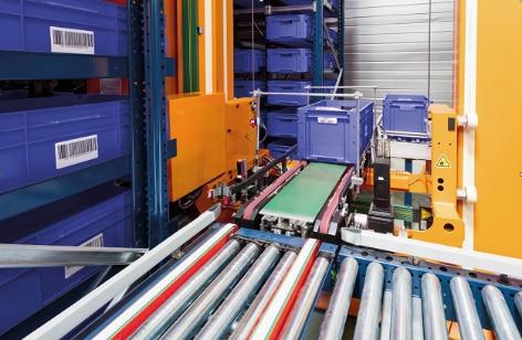 Układnica pojemnikowa miniload w magazynie francuskiej firmy Pellenc