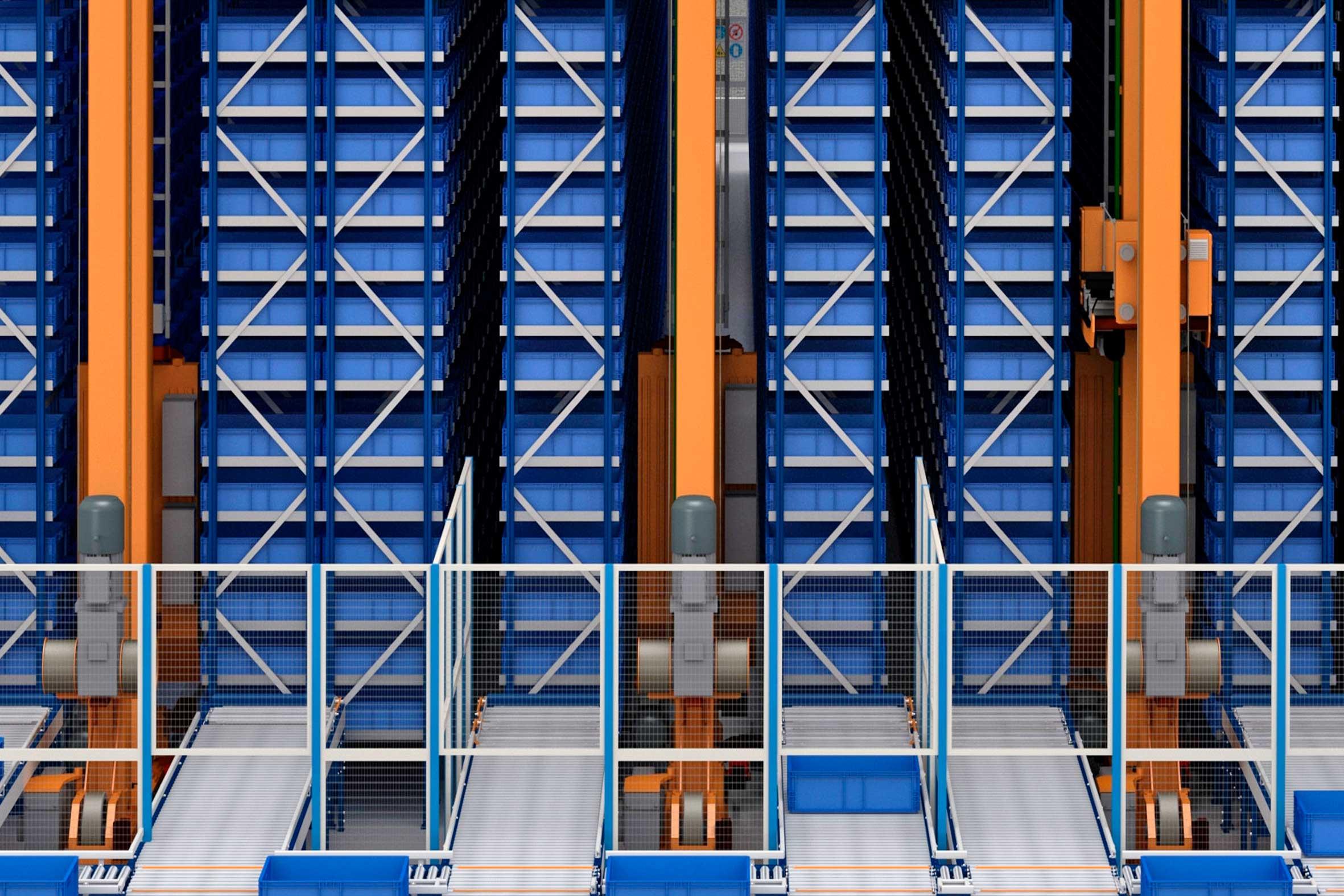 Automatyczny magazyn pojemnikowy dla producenta systemów oświetleniowych i ppoż